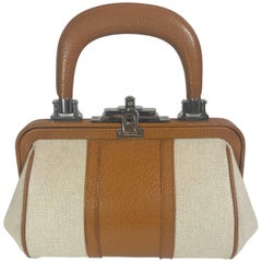 Roberta Di Camerino Canvas Leather Frame Bag