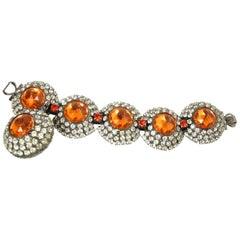 Huge Vintage Larry Vrba 1970s Huge Crystal And Orange Stone Bracelet