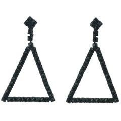 C.1960 Coro Black Rhinestone Triangle Earrings