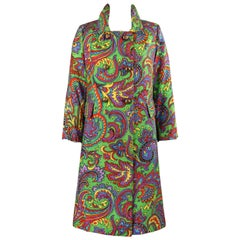 BILL BLASS For Bond Street c.1970s Multicolor Paisley Print Double Breasted Coat