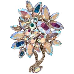 50'S Swarovski Crystal Abstract Flower Brooch By, Weiss