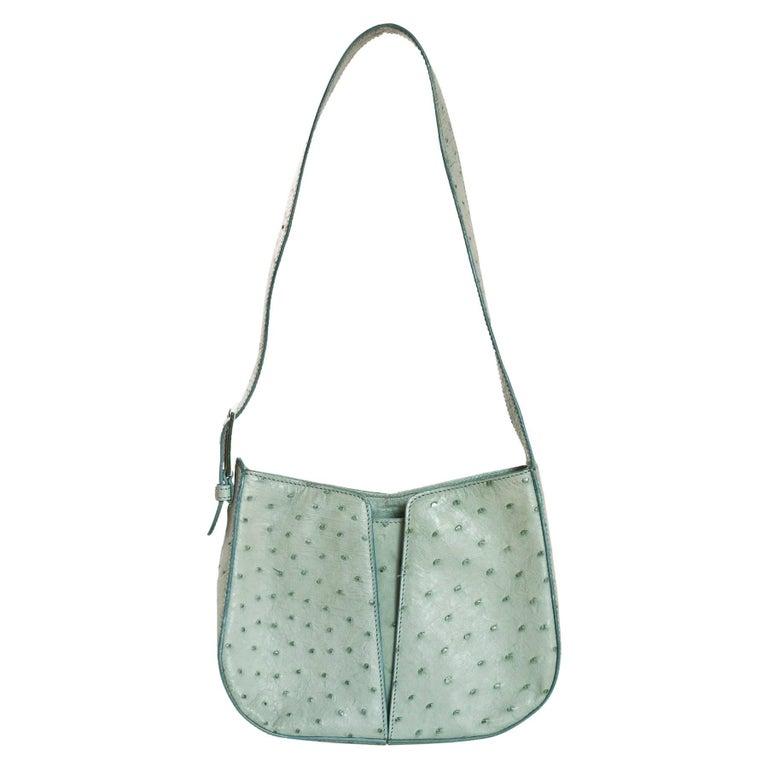 Mauro Governa Blue Vintage Ostrich Shoulder Bag