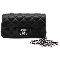 2013 Chanel Black Quilted Caviar Leather Chanel Classic Mini Flap Bag