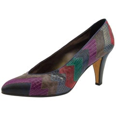 1980s Andrea Pfister Chevron Patchwork Exotic Skin Pumps