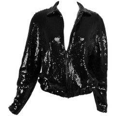 Halston black sequin zip front cropped jacket, 1970s