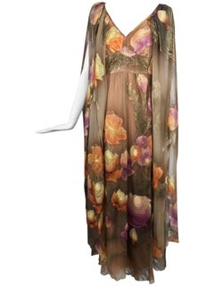 Lilija Nicis hand painted metallic silk chiffon gown, 1960s