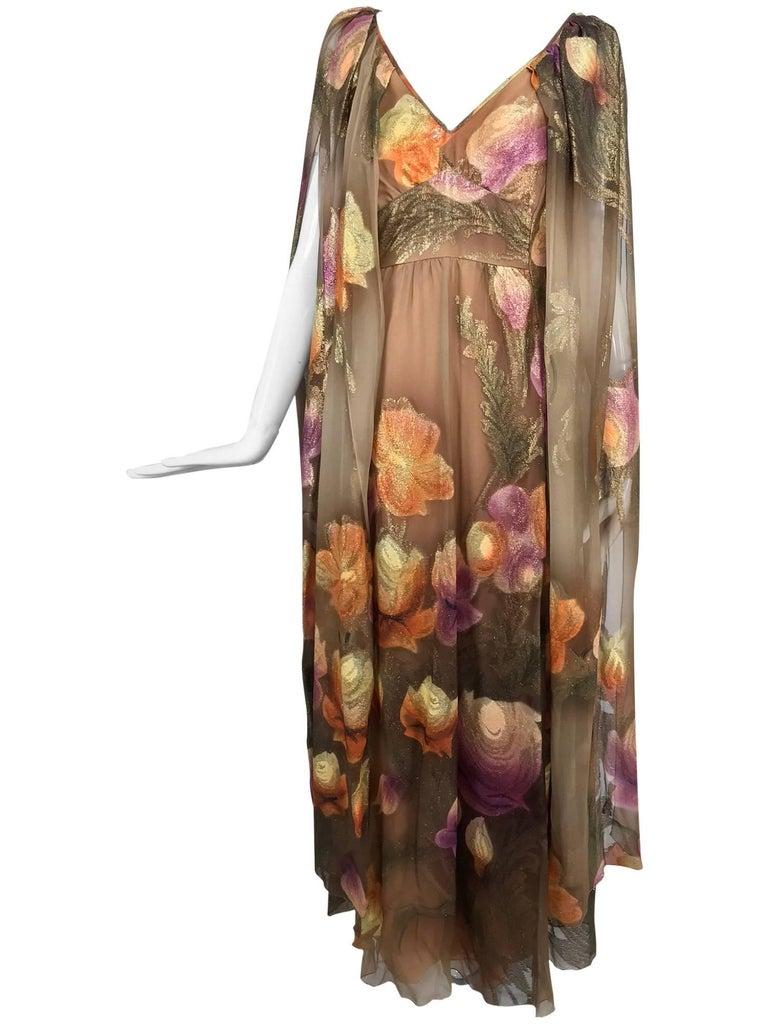 Lilija Nicis hand painted metallic silk chiffon gown, 1960s For Sale