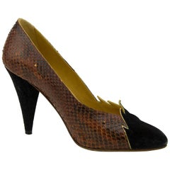 1980s Maud Frizon Black Suede and Exotic Skin Pumps