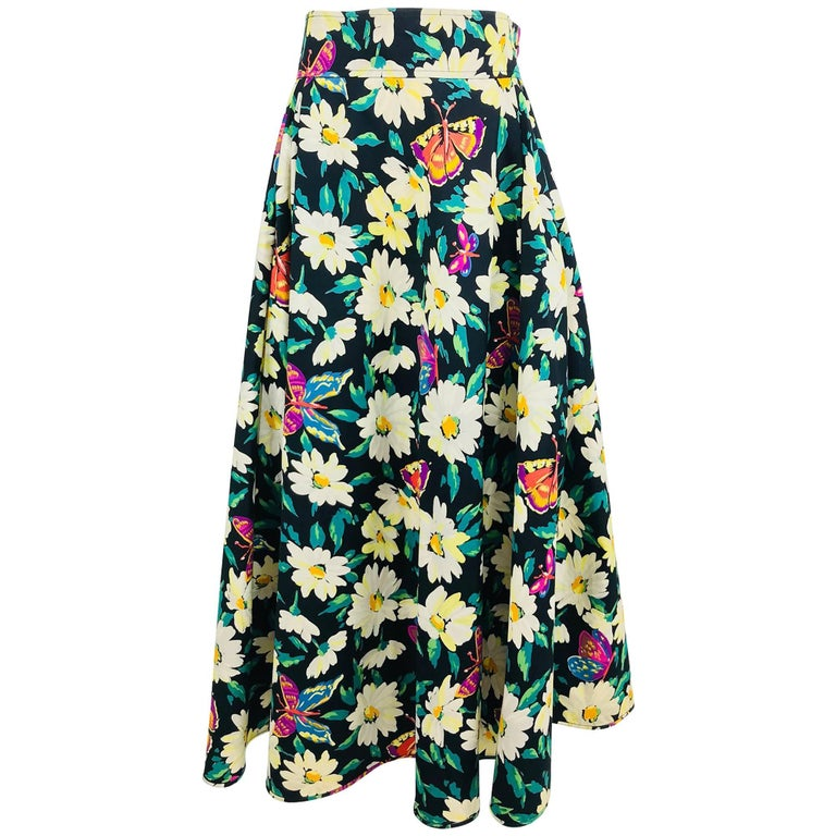 Ungaro cotton floral butterfly print high waist full skirt, 1980s