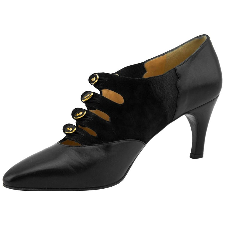1970s Maude Frizon Black Leather and Suede Pumps