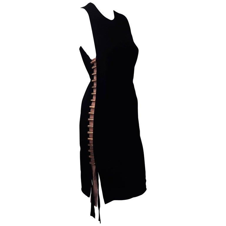 Lanvin Black Sleeveless Sheath Dress Embellished W Metal Coils At