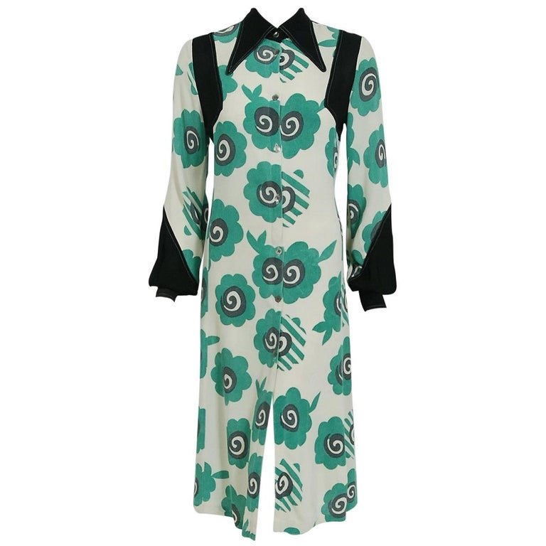 1969 Ossie Clark Candy Flower Celia Birtwell Print Crepe Billow-Sleeve Dress