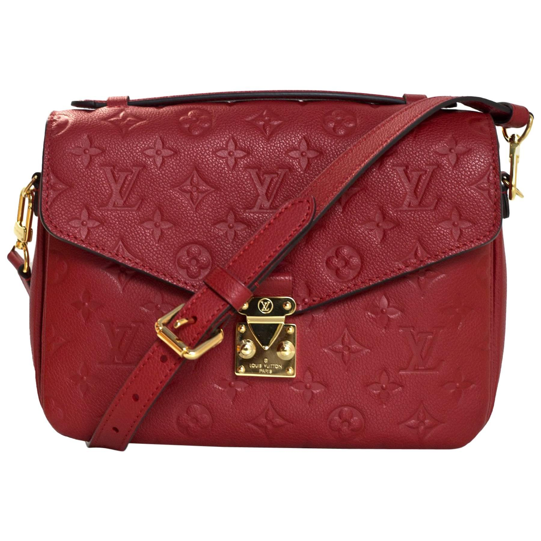 Louis Vuitton 2017 Cerise Red Empreinte Metis Pochette Crossbody Bag W. Dust Bag fcEe0exs