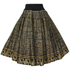 Hand Painted Aztec Motif Sequin Mexican Circle Skirt from Jácome Estate, 1950s