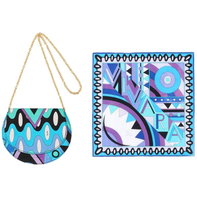 "EMILIO PUCCI c.1970's 2 Pc ""Vivara"" Signature Print Blue Op Art Scarf Purse Set For Sale"