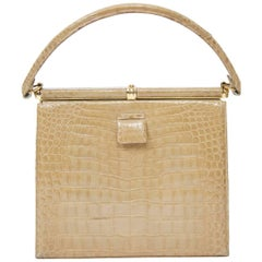 Lucille de Paris Tan Crocodile Handbag