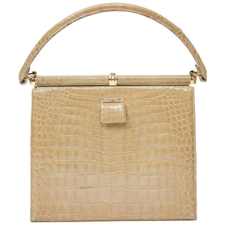 13a7284bc400 Lucille de Paris Vintage Tan Alligator Belly Bag at 1stdibs