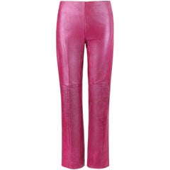 VERSACE Jeans Couture Magenta Pink Leather Boot Cut Pants
