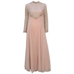 C.1970 Victoria Royal Nude Illusion Beaded Chiffon Evening Dress