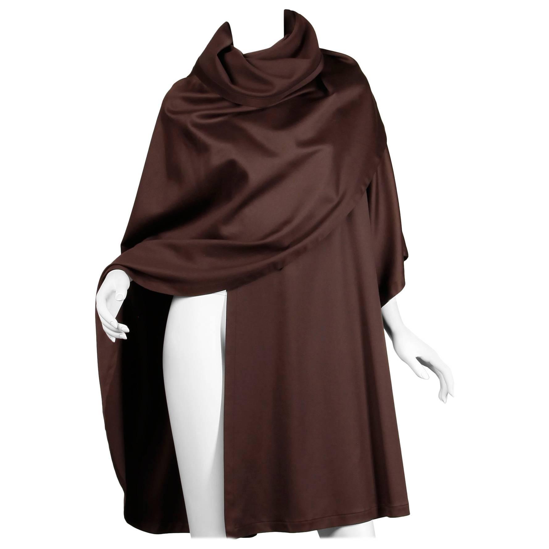 Bernard Perris Vintage Brown Wool / Silk Avant Garde Cape Coat, 1980s