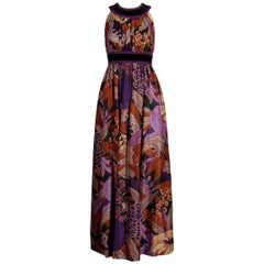 1970s Jay Morley for Fern Violette Vintage Purple Brown Floral Print Maxi Dress