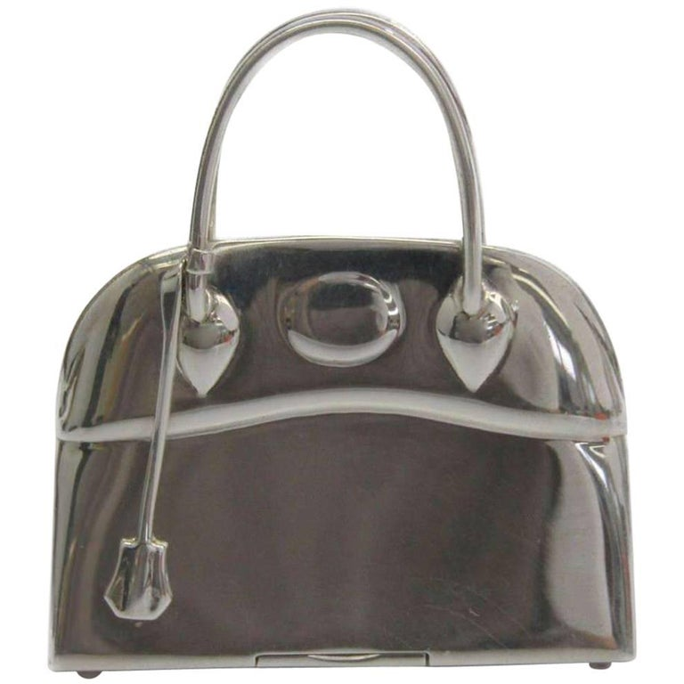 Hermes Genuine Sterling Silver Trinket Collectible Bag Box