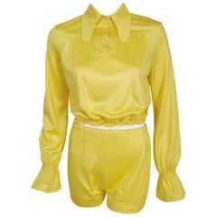 1975 Ossie Clark Yellow Jersey Beagle-Collar Cropped Blouse & Matching Hot Pants