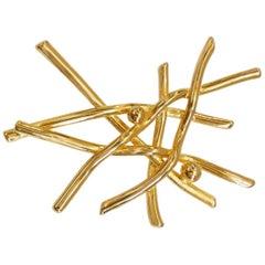 Modernist Gold Plated Branch Brooch