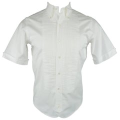 Men's  BLACK FLEECE Size XS White Pleated Cotton Button Down Short Sleeve Shirt