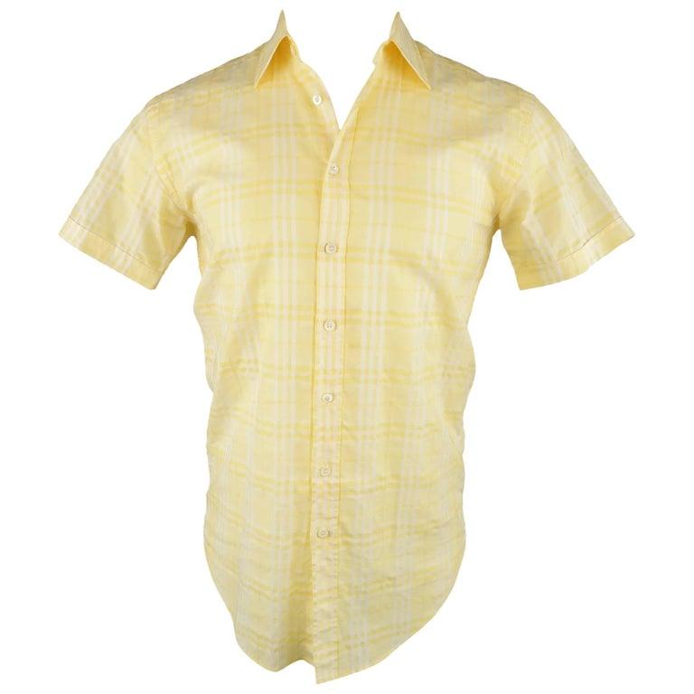 Men s BURBERRY LONDON Size XS Yellow Plaid Cotton Short Sleeve Shirt For  Sale 739696ea02