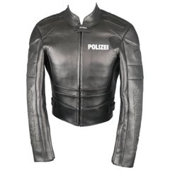 Vetements Black Leather Polizei Cropped Moto Jacket