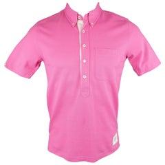Men's BLACK FLEECE Size S Pink Pique Button Collar POLO