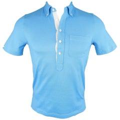 Men's BLACK FLEECE Size XS Blue Pique Button Down Collar POLO