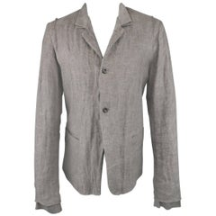 Men's LOST & FOUND S Gray Distressed Hemp Blend Layered Cuff Jacket