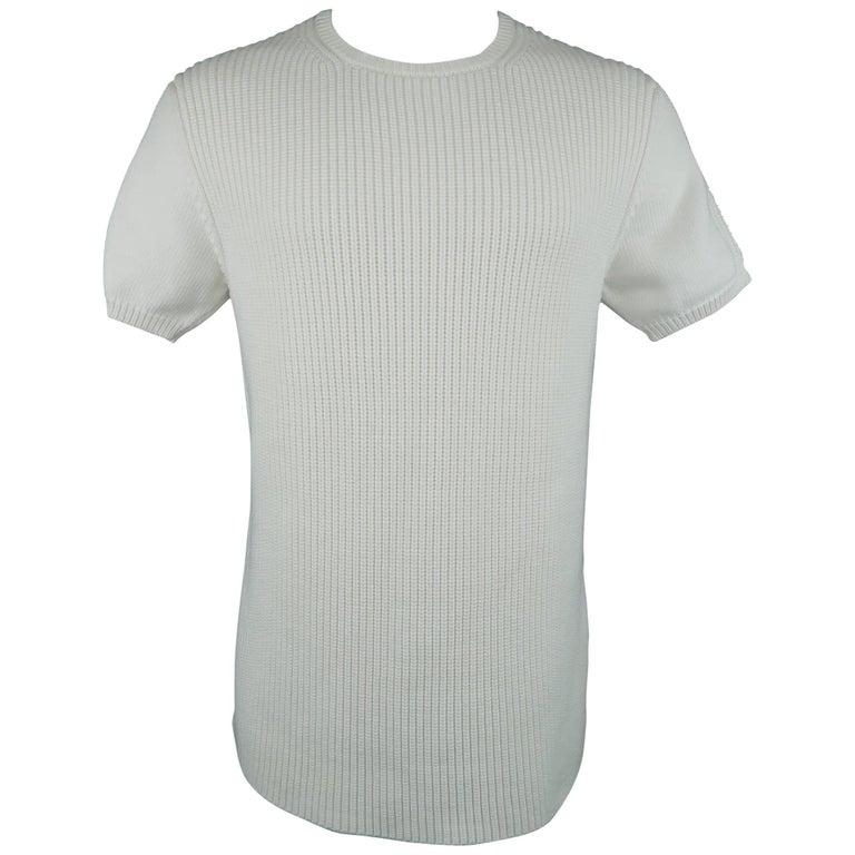 Men's JIL SANDER Size M White Fisherman Knit Short Sleeve Pullover