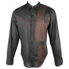 Men's MARITHE+FRANCOIS GIRBAUD Size M Black Hidden Placket Brown Patch Shirt