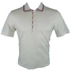 Men's THOM BROWNE Size M White Cotton Red & Navy Striped Trim POLO
