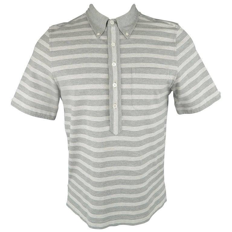 Men's BLACK FLEECE Size M Grey & White Stripe Pique Button Down Collar POLO