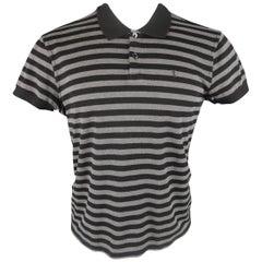 Men's SAINT LAURENT Size M Grey & Black Striped Pique YSL POLO