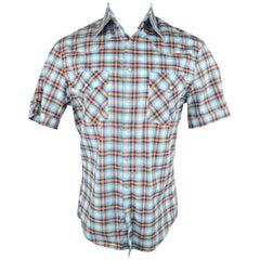 Men's MICHAEL BASTIAN Size M Blue Red & Yellow Plaid Western Short Sleeve Shirt
