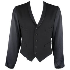 Yohji Yamamoto Black Wool Shawl Collar Vest Satin Sleeve Jacket