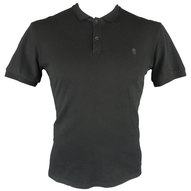 Men's ALEXANDER MCQUEEN Size L Black Embroidered Skull Pique POLO