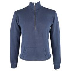 Men's MAISON MARTIN MARGIELA Size L Navy Cotton Half Zip High Collar Sweatshirt