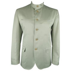 Men's ISSEY MIYAKE 42 Sage Green Cotton Nehru Collar Sport Coat Jacket