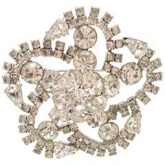 20th Century Silver & Austrian Crystal Clear Rhinestone Dimensional Brooch