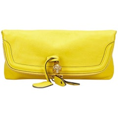 Alexander Mcqueen Yellow Skull Padlock Fold-over Clutch Bag