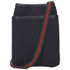 Gucci Black Guccissima Jacquard Crossbody Bag