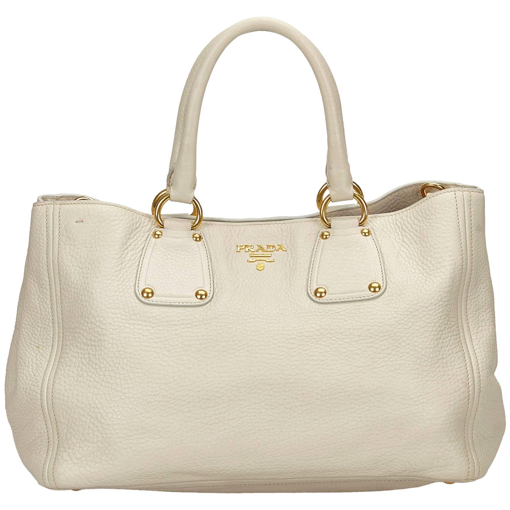 83bc19611272 ... uk prada white vitello daino leather handbag for sale 7c9aa 0190d
