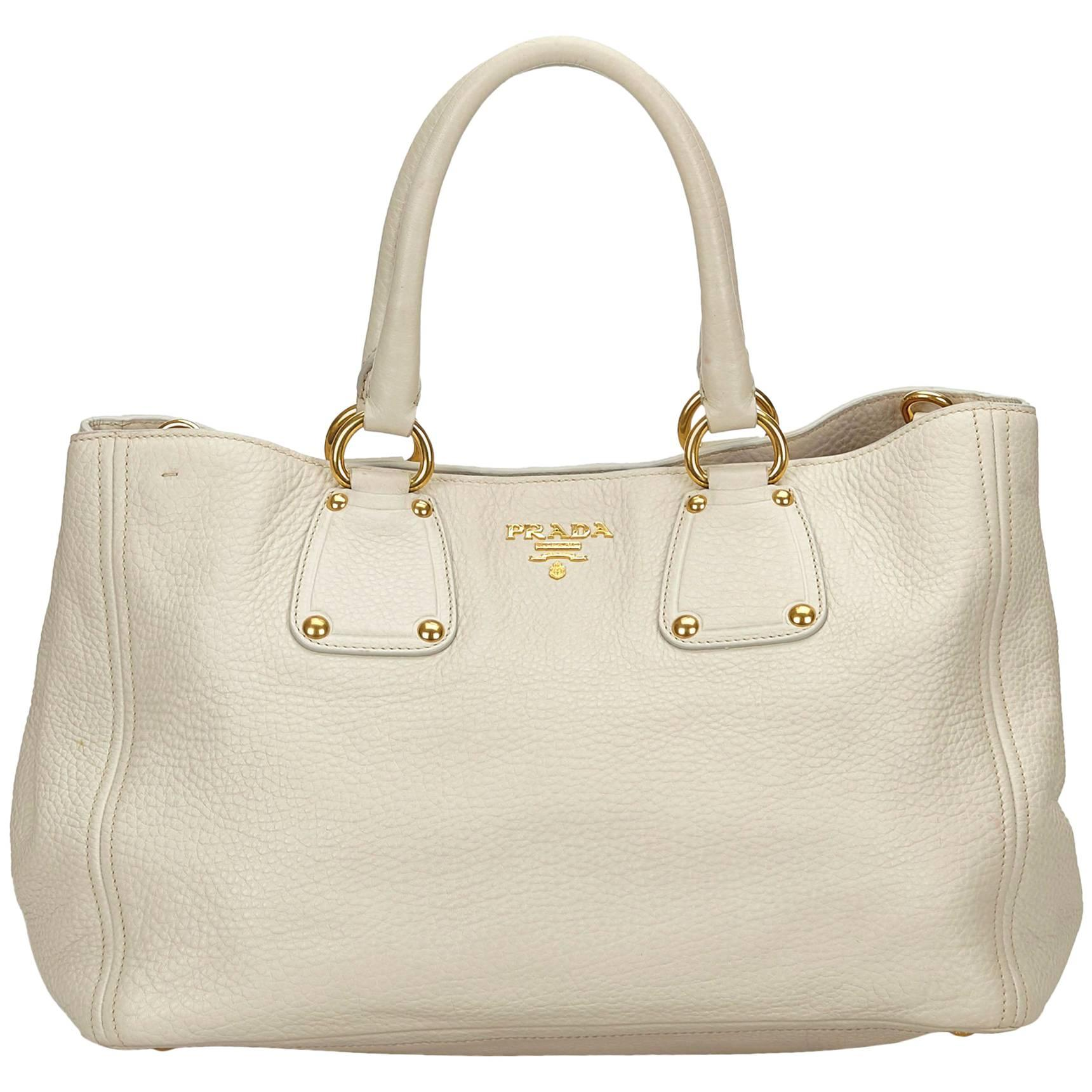 f19f07ded9ff6 ... uk prada white vitello daino leather handbag for sale 7c9aa 0190d