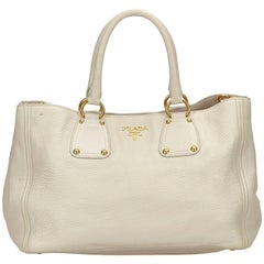Prada White Vitello Daino Leather Handbag